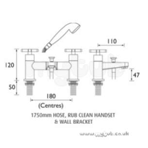 Bristan Brassware -  Design Utility Crosshead Bath Shower Mixer Cp