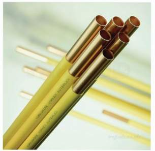 Copper Tube Table Z kuterlite and Chrome -  Yellow Kuterlex 6 Metre Yellow Plastic Coated Copper Tube 15mmx0.7mm