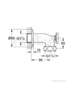 Grohe Parts and Spares -  Grohe Wall Union 12444000