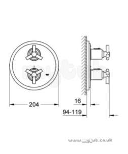 Grohe Shower Valves -  Grohe Atrio Y 19394 Rapido Shower Trim