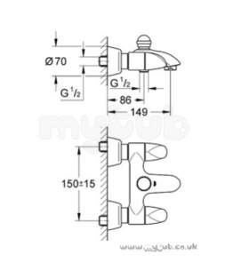 Grohe Tec Brassware -  Grohe Aria 25081 Wall Mounted Bath Shower Mixer