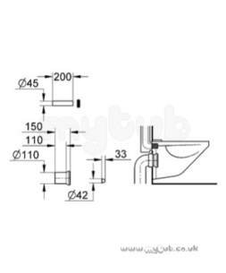 Grohe Tec Brassware -  Dal 37104 Wc Inlet/outlet Pipe Bk