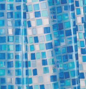 Croydex Shower Curtains and Rails -  Croydex Ae543424 Pvc Curtain Blue Mosaic
