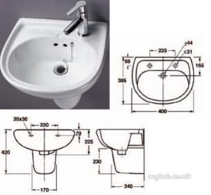 Akw Level Access Showering -  Akw Washbasin Two Tap Holes 450mm Wide 23126