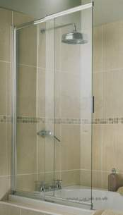 Aqualux Shower Enclosures and Bath Screens -  Aquarius 2 Panel Slider Bath Screen Sv/cl