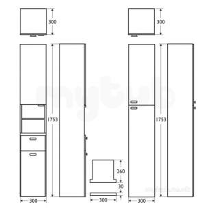 Ideal Standard Concept Furniture -  Ideal Standard Concept E6627so 300 Column Unit A Oak