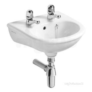 Armitage Entry Level Sanitaryware -  Armitage Shanks Sandringham S218501 37cm Two Tap Holes O/f Hr Basn
