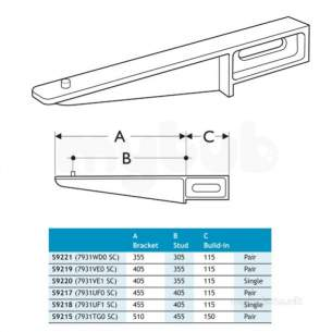 Armitage Shanks Commercial Sanitaryware -  Armitage Shanks S9219 405-355mm Alm Alloy B/i Bracket Sc
