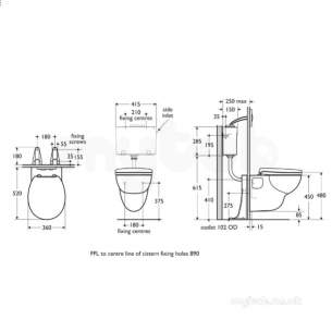 Armitage Shanks Commercial Sanitaryware -  Armitage Shanks Wall Hung Support Set