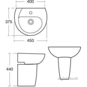 Ideal Standard Sottini Ware -  Ideal Standard Bodoni E307601 450mm One Tap Hole H/r Basin White