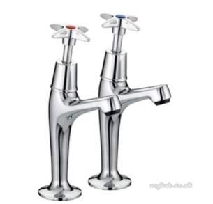 Bristan Brassware -  Value Cross Top High Neck Pillar Taps Cp
