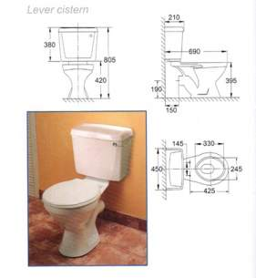 Ideal Standard Packs -  Ideal Standard Wesley/avon Pan With Lever Flush Cistern And Tivoli 2 Seat