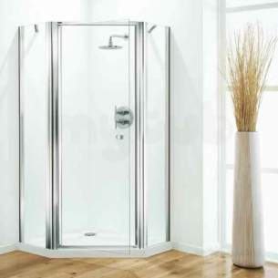 Coram Optima Shower Enclosures -  Coram Optima 900mm Pentagon Pack Ch/sa