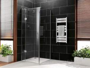 Coram Premier Frameless 8mm -  Coram Premier Frameless 900mm Hinged Door Left Hand Chrome/clear
