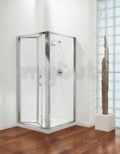 Coram Premier Shower Enclosures -  Premier Bifold Door 900mm Polished Silver/plain Glass Door Only