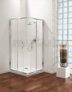 Coram Premier Shower Enclosures -  760mm Premier Corner Entry Door Pack Polished Silver Satin Glass