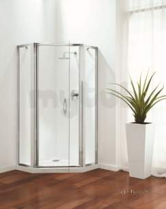 Coram Premier Shower Enclosures -  Premier Pentagon 900mm Polished Silver/plain Glass