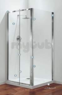 Coram Premier Shower Enclosures -  900mm Premier Bifold Door Polished Silver Satin Glass Door Only