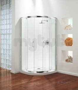 Coram Premier Shower Enclosures -  800mm Premier Quadrant Frame Pack Polished Silver Etched Satin Modesty Panel 2