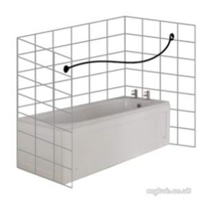 Croydex Shower Curtains and Rails -  Croydex P Shape Rod 1850mm Chrome