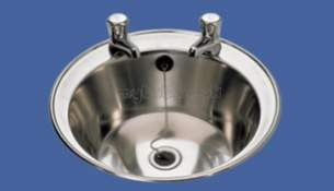 Sissons Stainless Steel Products -  D20170n 400mm Two Tap Holes Round Washbasin Ss