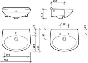 Twyford Grace Sanitaryware -  Grace 550 Semi Recessed Basin 2t Gc4622wh