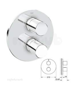 Grohe Shower Valves -  Grohe 3000c Trim C/w Aquadimmer Cp