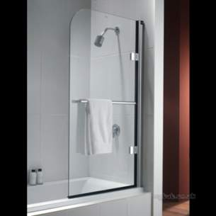 Twyford Geo6 and Hydr8 Enclosures -  Twy Hydr8 Radius Panel Bath Screen Right Hand Chrome Plated H82969cp