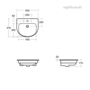 Ideal Standard Playa Sanitaryware -  Ideal Standard Playa J5027 550mm 1th C/top Basin White