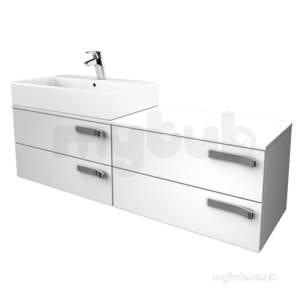 Jasper Morrison Strada Furniture -  Ideal Standard Strada 1400 Combi 4dwr Lh And Wtop Gls Wh K2461wg