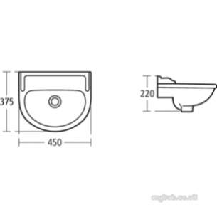 Ideal Standard Classic -  Ideal Standard Revue E2120 450mm Two Tap Holes C/room Basin Wh