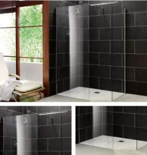 Impey Wetrooms Systems -  900mm Aqua-screen 2 Stra Tiebar Ch Plain Gl