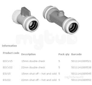 Marley Equator -  Equator Double Check Valve 22mm Edcv22