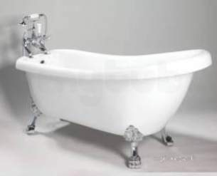 Jacuzzi Acrylic Baths and Panels -  Jacuzzi Pro Wbspro Scf201 White Lilburn Floor Standing 1750mm Slipper Bath