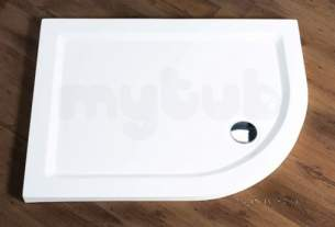 Aqualux Shower Trays -  Ftr0172aqu White Aqua 55 Off-set Right Handed Quadrant Shower Tray 55x800mm