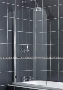 Aqualux Shower Enclosures and Bath Screens -  Fs6150aqu White Aqua 5 Radius Clear Glass Hinge Pack 1380mm