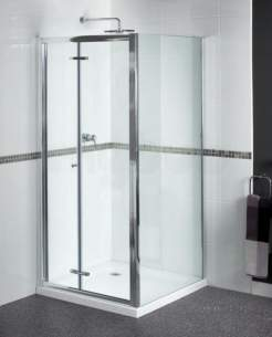 Aqualux Shine Products -  Fen0900aqu Polished Silver Shine Clear Glass Bi-fold Shower Door 1850x900mm