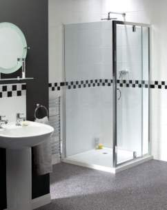 Aqualux Shine Products -  Fen0894aqu Polished Silver Shine Clear Glass Telescopic Pivot Door 1850x900mm