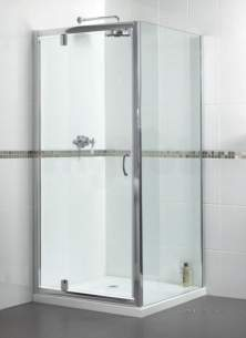 Aqualux Shine Products -  Fen0897aqu Polished Silver Shine Clear Glass Pivot Shower Door 1850x900mm