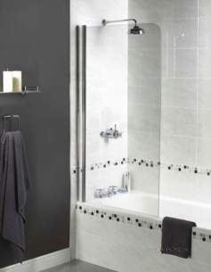 Aqualux Shine Products -  Polished Silver Shine Clear Glass Radius Shower Bath Screen 1500x850mm