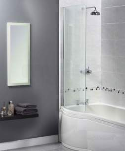 Aqualux Shine Products -  Fbs0274aqu Polished Silver Clear Glass Curved Shower Bath Screen 1500x710mm
