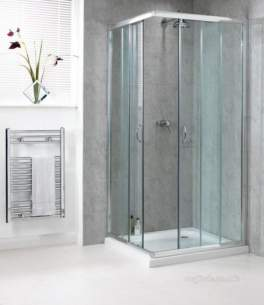 Aqualux Shine Products -  Polished Silver Shine Clear Glass Corner Entry Shower Enclosure 1850mmx800mm