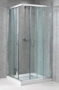 Aqualux Shine Products -  Fen0922aqu Polished Silver Shine Clear Glass Shower Side Panel 1850x760mm