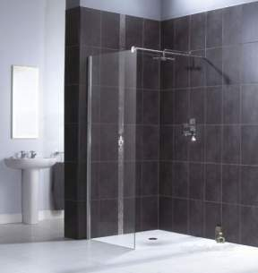 Aqualux Shine Products -  Fen1014aqu Polished Silver Shine Clear Glass Bath Screen 1900x1200mm