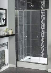 Aqualux Shine Products -  Fen0920aqu Polished Silver Shine Clear Glass Sliding Shower Door 1850x1400mm