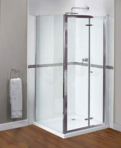 Aqualux Shine Products -  Fen0999aqu Polished Silver Shine Xtra Clear Glass Bi-fold Shower Door 1850mmx760mm