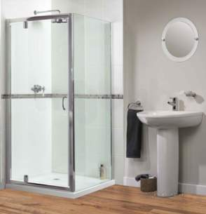 Aqualux Shine Products -  Fen0998aqu Polished Silver Shine Xtra Clear Glass Pivot Shower Door 1850x900mm