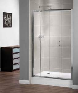 Aqualux Shine Products -  Polished Silver Shine Xtra Clear Glass Sliding Shower Door 1850mmx1100mm