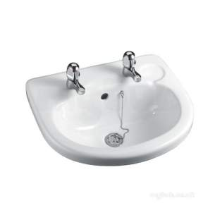 Armitage Sandringham Select -  Armitage Shanks S250901 White Sandringham Wash Basin Two Tap Hole 490mm