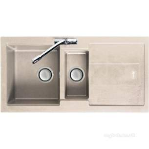 Carron Trade Sinks -  Champagne Bali Reversible Kitchen Sink With Large 1.5 Bowl And Drainer